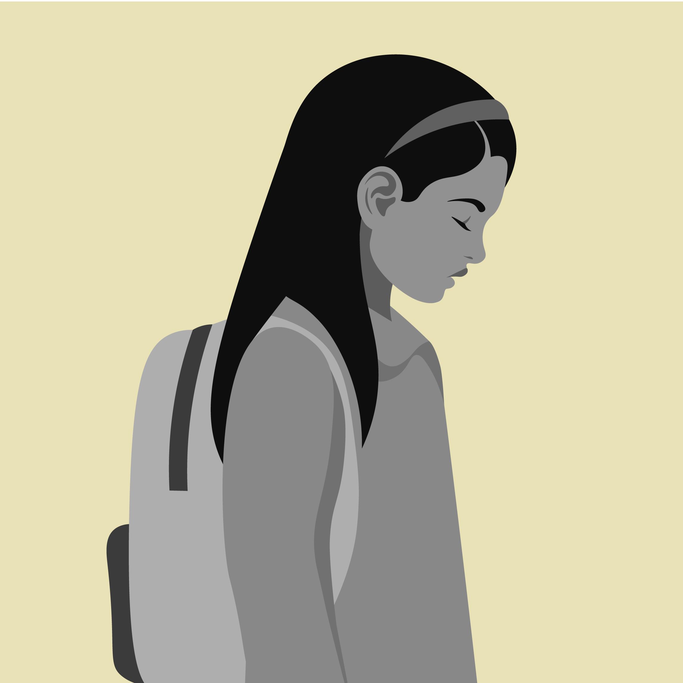 An illustration of a schoolchild looking sad