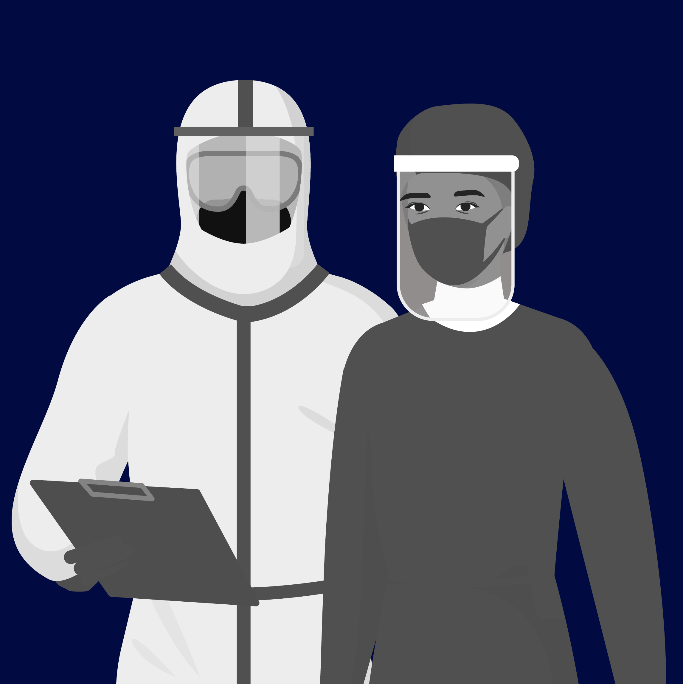 An illustration of two care workers in full PPE