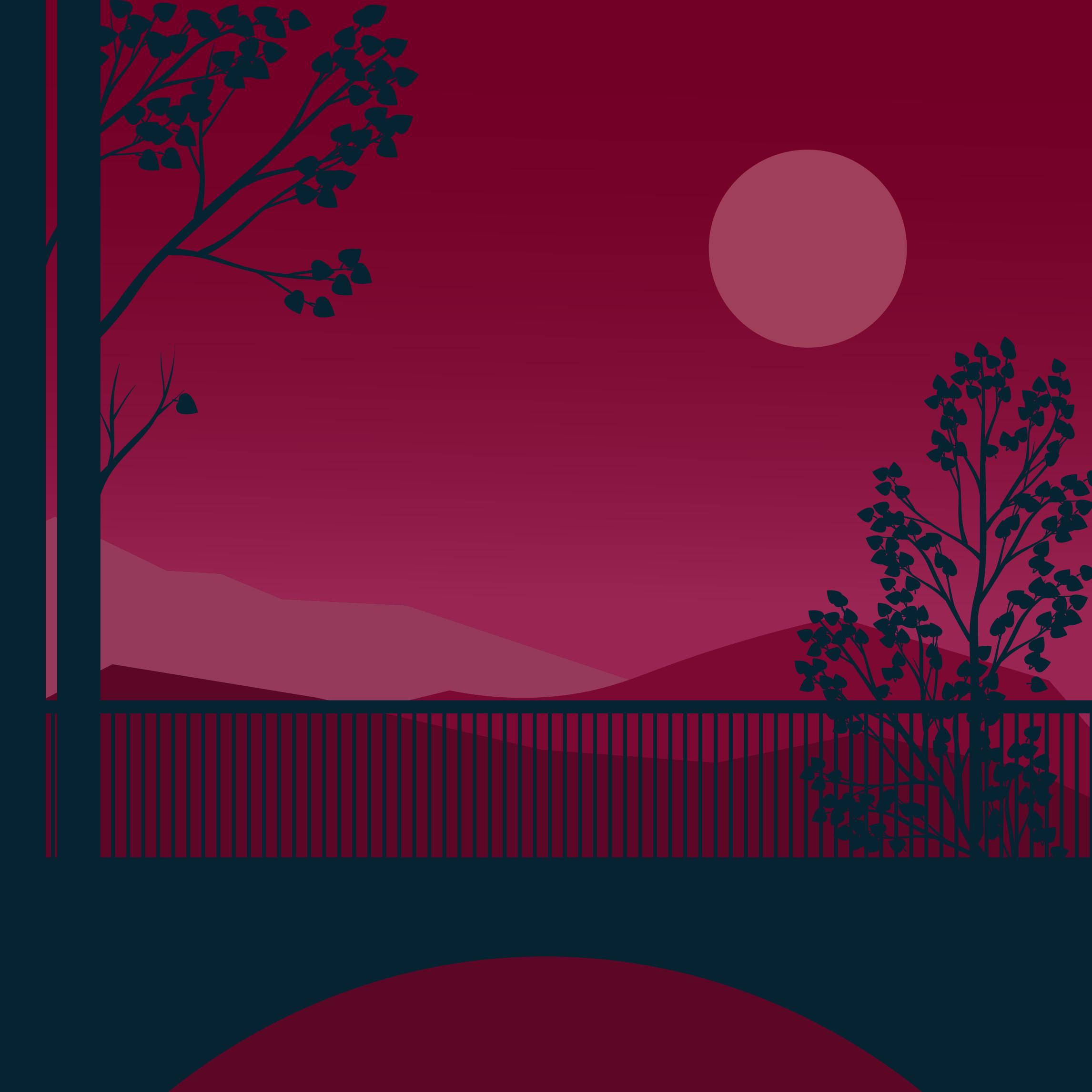 An illustration of a mountainous landscape