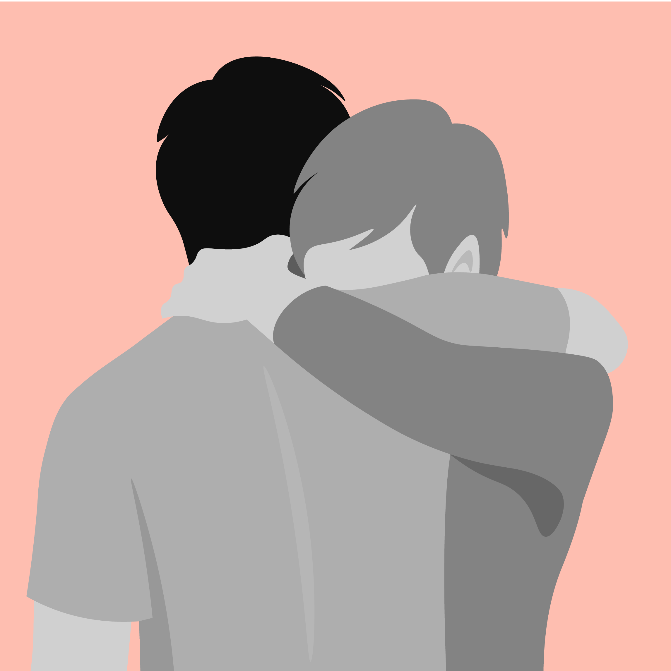 An illustration of two people embracing each other